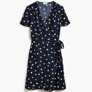 J. Crew Drapey Twill Wrap dress NWT lemon print